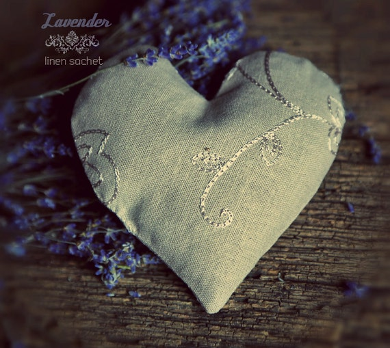 Organic Lavender Heart Sachet Dream pillow natural linen eco-friendly soothing relaxing
