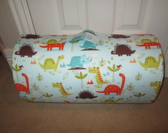 Monogrammed Childrens Pre School THICK COMFY Nap Mat Dinosaurs w/ Attached Cuddle Double Sided Minky Blanket and Pillow