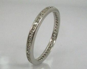 Vintage Diamond Platinum Anniversary Band - Art Deco Wedding Band Channel Set - 0.43 Carats Single Cut Diamonds - Appraisal Included