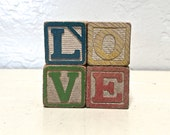 love - vintage wooden letter blocks - love