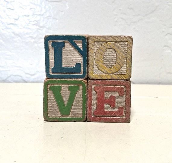 love - vintage wooden letter blocks - love