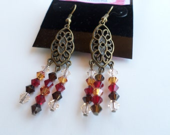 Swarovski Crystal Beaded Earrings in Antique Brass