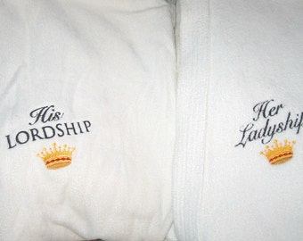 SALE 2 Robes, Lordship and Ladyship, thick White cotton terry Velour 90s Like New