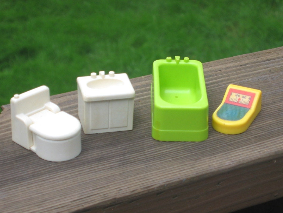 4 Pc Fisher Price Bathroom Set Fp Little People Furniture 70s