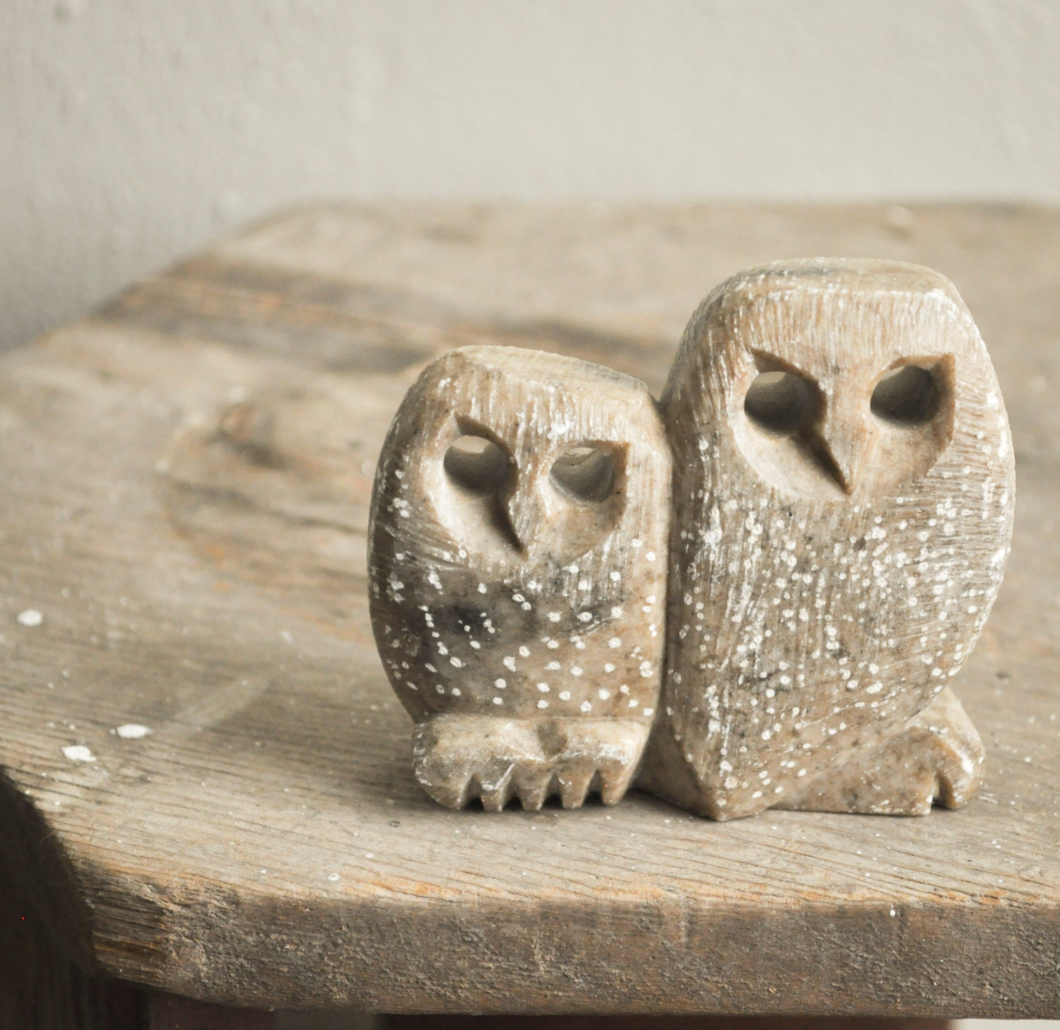 Vintage carved soapstone spotted owl figurine made by