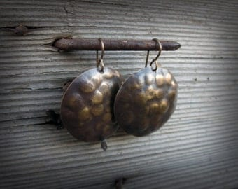 Distressed Antique Brass Earring