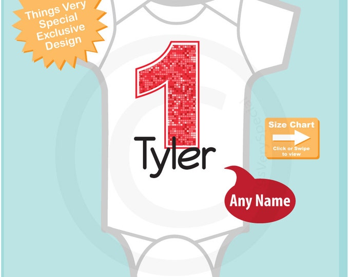 First Birthday Onesie, Red Number 1 1st Birthday Shirt, Personalized Boys Birthday, Red Age and Name Tee or Infant Onesie 03042015a