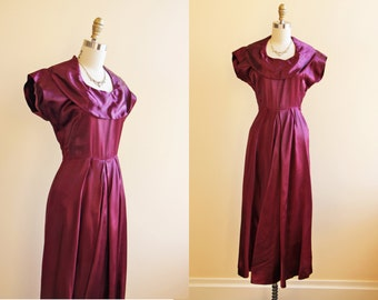 40s Dress - Vintage 1940s Dress - Deep Purple Satin Evening Gown XS S - Aubergine