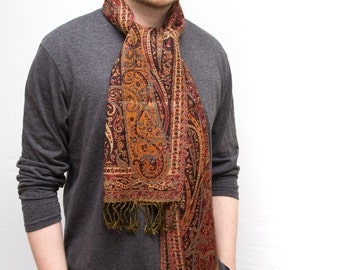Paisley Wool Scarf.  Mens scarf. Red Ochre.  100% Merino Wool.   Red Cat.