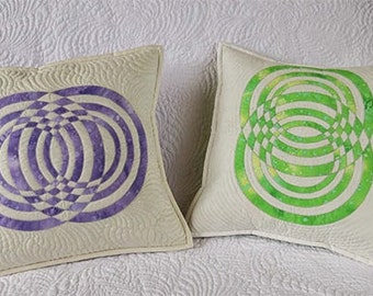 Decorative Quilted Pillows Covers-original geometric design in green and lilac