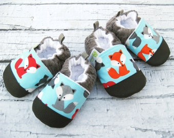 Classic Vegan Fox in Charcoal / Non-Slip Soft Sole Baby Shoes / Made to Order / Babies Toddlers Preschool