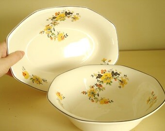 Homer Laughlin Medieval Rose pattern 2 pc. serving set, large oblong dish & octagon bowl, like new, vintage 1930s collectible china