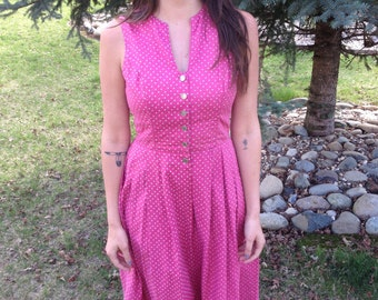 PARADE - Gorgeous Pink Country Calico Floral Heart Print Handmade Cotton Coin Button Up Pleated Retro Prairie Boho Sundress Dress Medium M