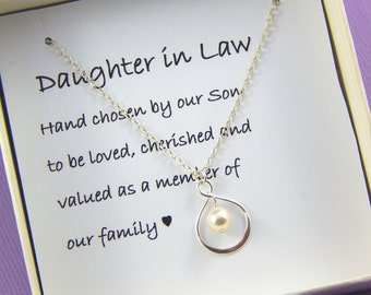 Daughter In Law Necklace, Daughter In Law Gift,Daughter In Law Wedding Gift, Daughter In Law Jewelry, Daughter Gift, Hand Chosen By Our Son