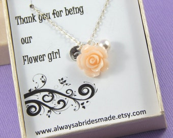 Flower Girl Necklace, Thank you for being my Flower Girl Necklace - Gift Boxed Jewelry Flower Girl Necklace Personalized Flower Girl Gift