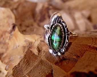 Sterling Silver Ring with Sea Opal and Hand Engraved Design RF703
