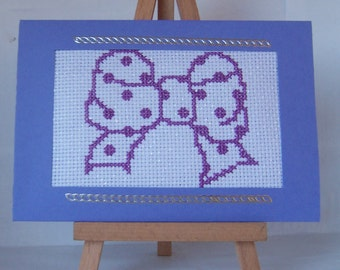 Spotty Bow Completed Cross Stitch Card or Notelet suitable for Birthday Greetings,Birthday Card