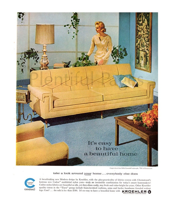 1962 kroehler furniture vintage ad 1960 39 s living room for Living room 60 s