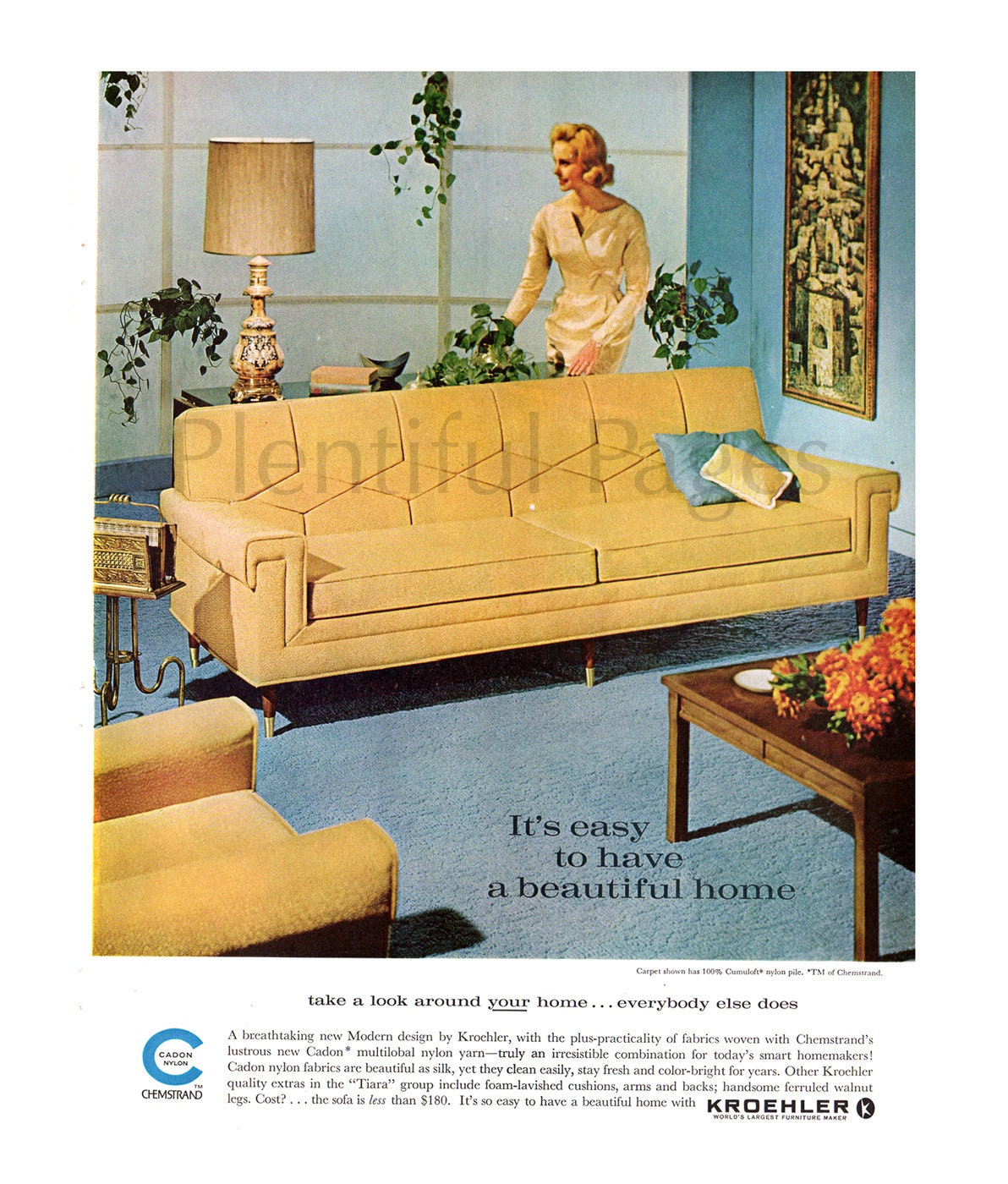 1962 kroehler furniture vintage ad 1960 s living room for Retro home furniture