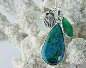 Sterling Silver Chrysocolla Necklace with Genuine Sea Glass, Shell Charm and Green Onyx Crystal