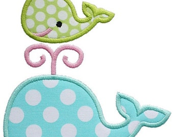 481 Two Whales Machine Embroidery Applique Design