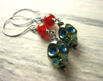 Teal blue green metalic czech glass skull red carnelian Sterling Silver Earrings long dangle antique finish earthy earrings rustic earrings