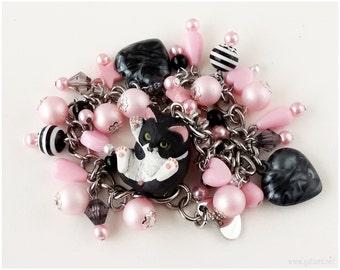 Cat Bracelet, Stainless Steel Chain, Black, Pink - Sweet Lolita, Cat Jewelry, Kawaii