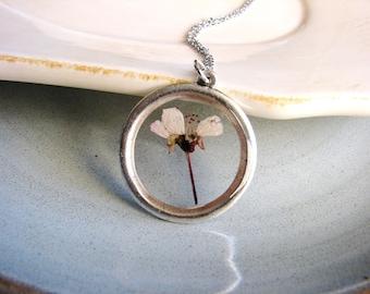 Real Flower Necklace Pressed Flower Jewelry Purple Sand Cherry Botanical Resin Silver Minimalist Gardener Naturalist Bridal Nature Garden