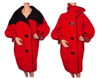 1980s Red and Black Wool Coat Oversized Collar and Balloon Sleeves - L