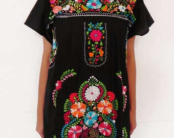 Mexican Black Mini Dress Special Collection Fantastic Embroidered Handmade Very Elegant Medium