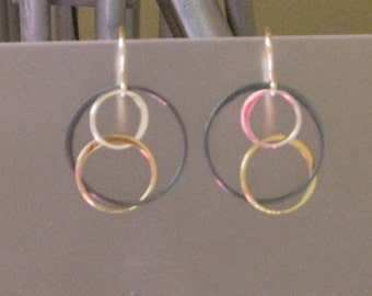 Tri Metal Infinity Circle Earrings