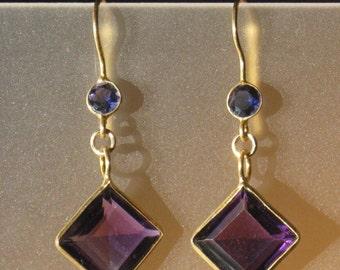 Amethyst and Iiolite gemstone and gold Earrings