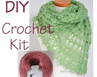 DIY Crochet Kit, Crochet shawl kit, BELLA, ORCHID, yarn and pattern