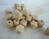 Geometric Wooden Beads - Natural - 12mm - Pack of 20