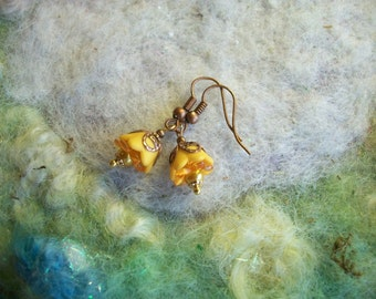 Tiny Earrings, Pixie Flower Bud Earrings, Harvest Yellow