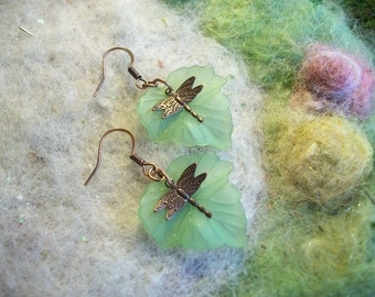 Garden Dragonfly Earrings, Holiday Green