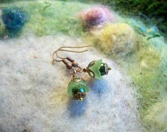 Go Green, Tiny Earrings, Pixie Flower Bud Earrings