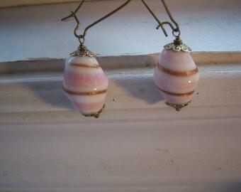 Pink Swirl Earrings - Glass Earrings -Pink ,White Copper Swirl Earrings