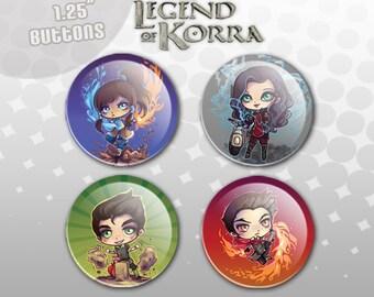 Legend of Korra Buttons - Korra, Mako, Bolin, Asami