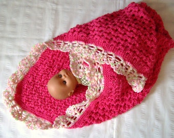 Bright pink baby blanket 30x36 inch knitted with crochet border gift hand made ready to ship baby shower blanket gift under 50 pink blanket