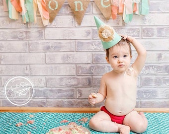 Vintage colored shabby chic 1st birthday highchair banner and hat