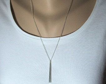 Silver Bar Necklace, Sterling Silver Chain, Vertical Bar, Minimalist Jewelry, Long Layered Necklace, Gift for Her