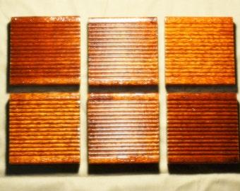 "6  MERBAU Ridged DECKING 19mm or .748""  Wood Coaster Coasters With 3 Coats Marine Varnish & Felt Dots - Set Of 6"