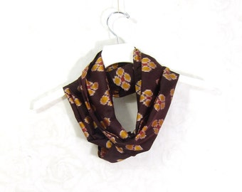 Brown Silk Scarf Silk Infinity Scarf Gift for Her Circle Scarf Spring Scarf Summer Scarf Lightweight Scarf Upcycled Sari Scarf Floral Print