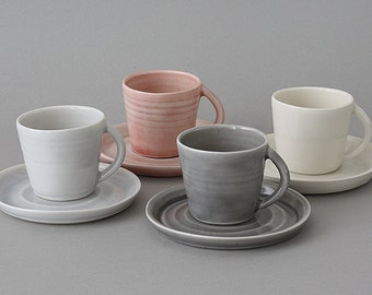 Porcelain Espresso Cup and Saucer made on a wheel