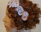 RESERVED  Tabitha- Vintage inspired bridal lace, beaded veil on headband with ivory flowers on bobbypins. Custom order.