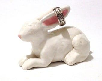 Rabbit Ring Holder, Ceramic White Rabbit Sculpture, Easter Bunny