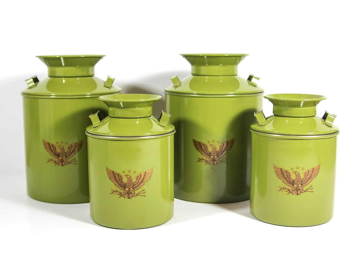 set of 4 kitchen canisters miniature metal milk by
