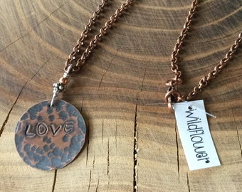 Love Stamped Recycled Copper Necklace