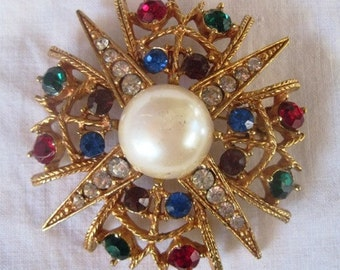 Vintage Stardust Brooch with Multicolored Stones